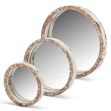 White Woodround Mirrors, Set of 3  (Only Available Through Haiti Showroom)