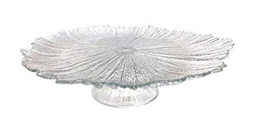 Brilliant Coral Footed Cake Plate Clear 15""