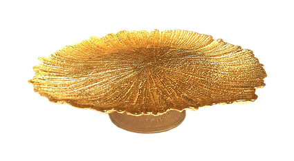 Brilliant Coral Footed Cake Plate Gold 15""