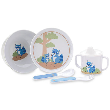 Hazelnut Hollow Raccoon 5pcs Dinnerware Set