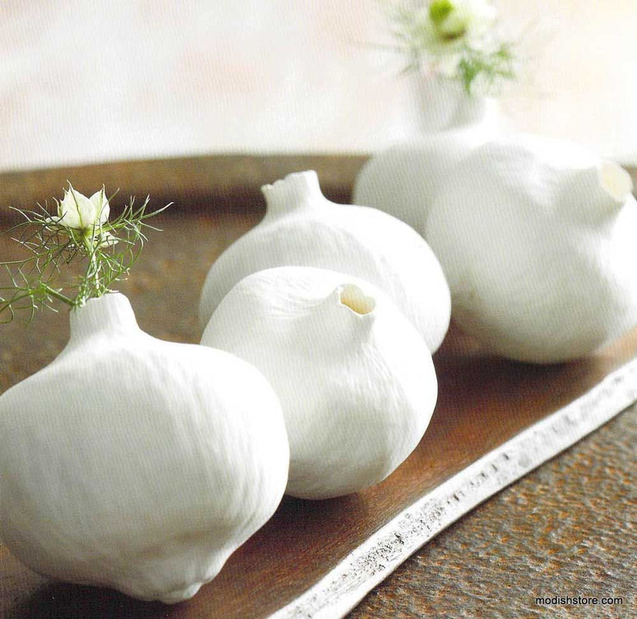 Round White Porcelain Pomegranate Vases Set of 3