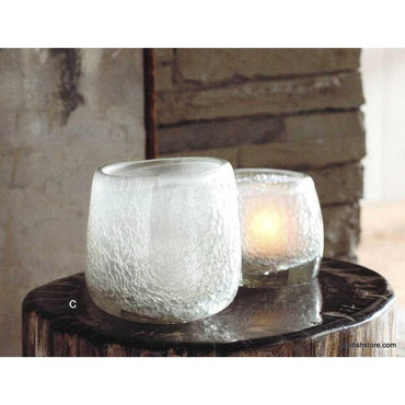 Cracked Ice Votive Holder Large Set of 2