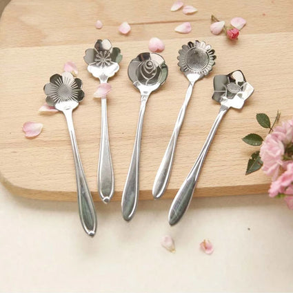 Stainless Steel Flower Spoons Set of 5