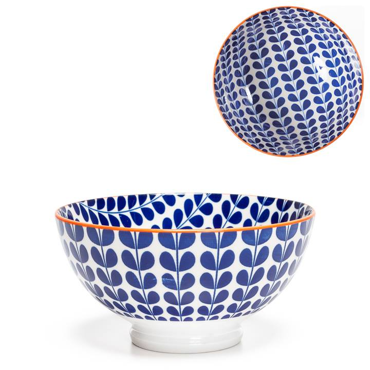 Kiri Porcelain Blue Vine Bowl