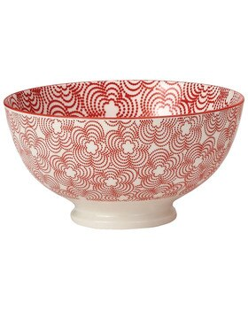 Kiri Porcelain Red Trim Bowl