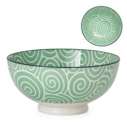 Kiri Porcelain Sea Green Swirl Bowl
