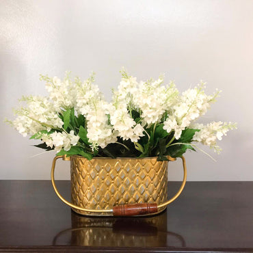 Gilded Diamond & Chevron Caddy With White Flowers