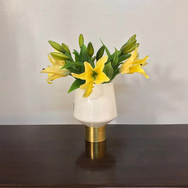 White Cylinder Shape Candle Holder/Vases With Yellow Flowers
