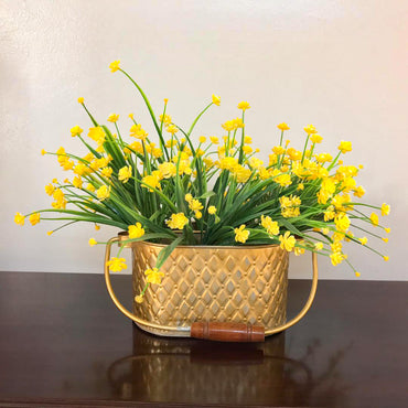 Gilded Diamond & Chevron Caddy With Yellow Flowers