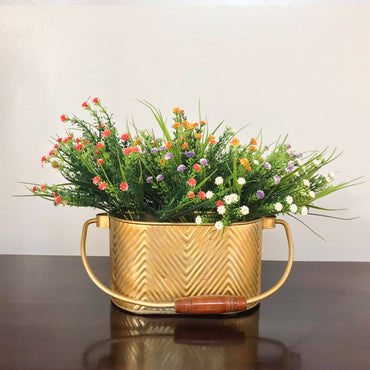 Gilded & Chevron Caddy With Yellow Flowers