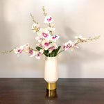 White Cylinder Shape Candle Holder/Vases With White Flowers