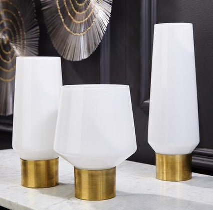 White Cylinder Shape Candle Holder/Vases With Brass Rim