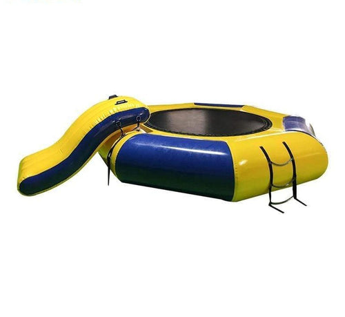 Inflatable Water Trampoline with Slide Water Bouncer Inflatable Jump WaterTrampoline Ableasy