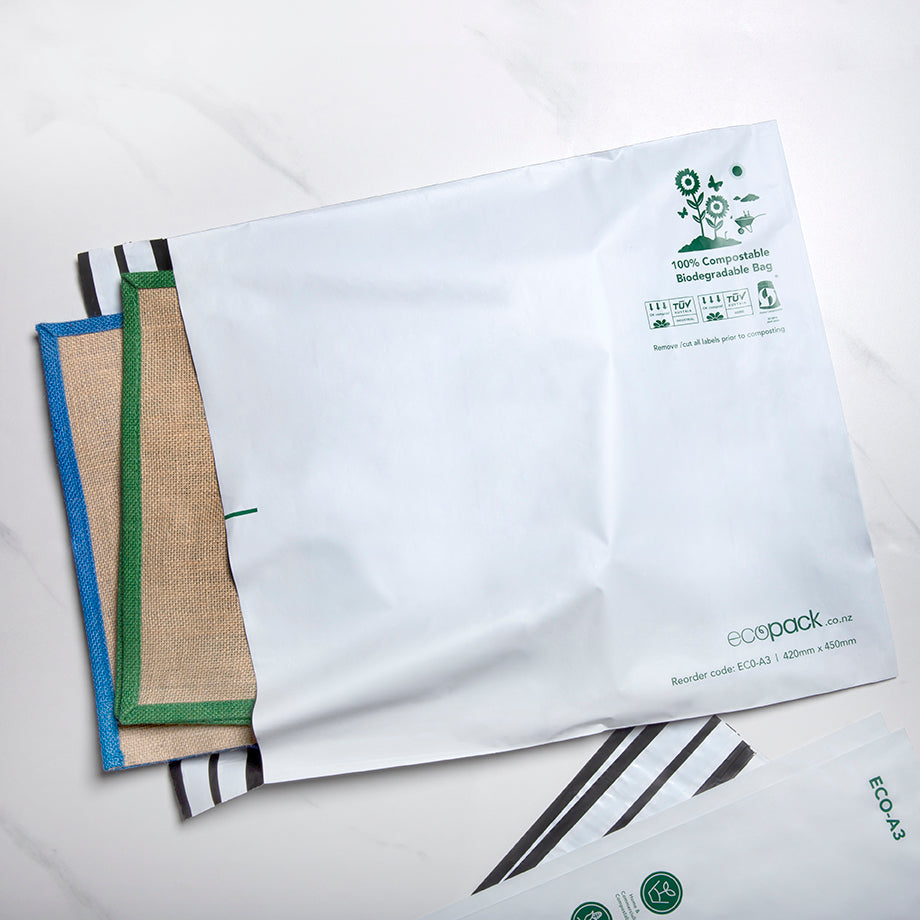ECO-A3 Compostable Resealable Courier Bags - Set of 25