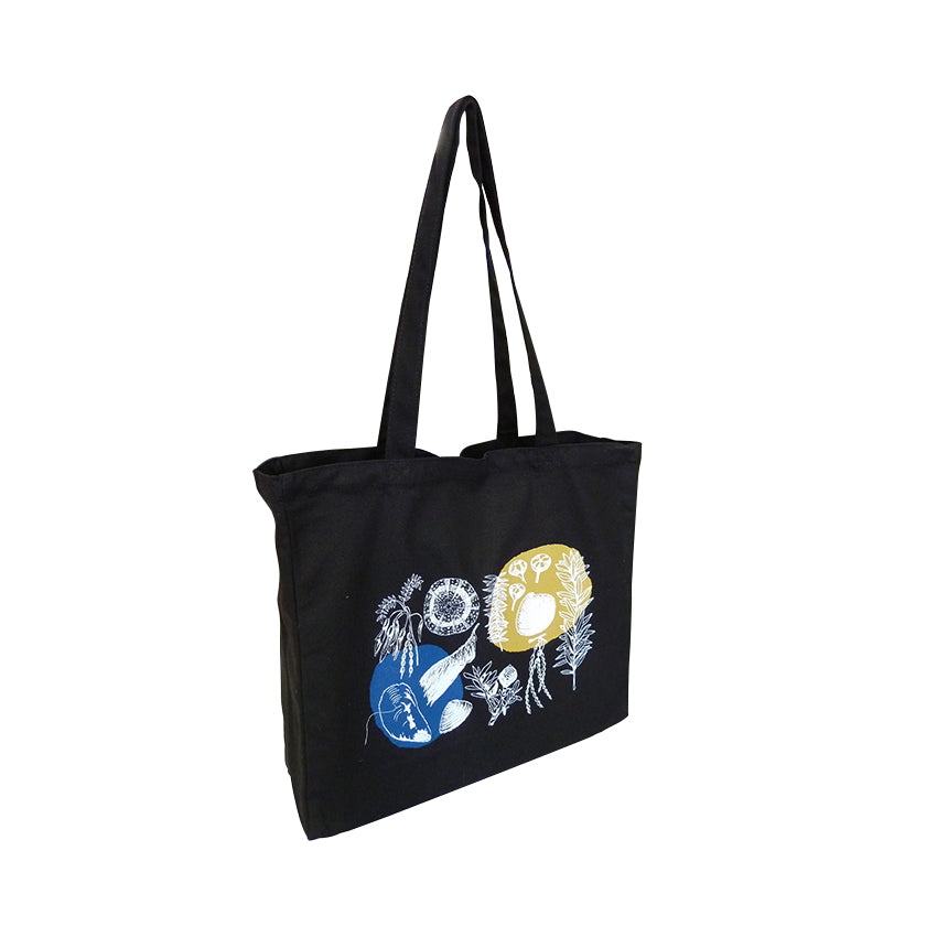 ECV-14 Black Canvas Tote Bag with Gusset
