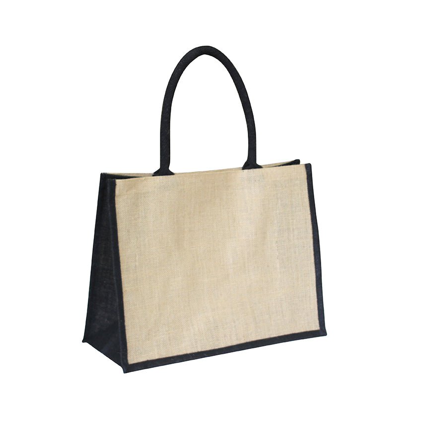 EJ-202 Jute Reusable Shopping Bag - Natural with Black Gusset