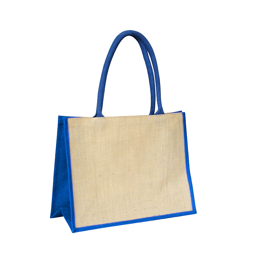 EJ-202 Jute Reusable Shopping Bag - Natural with Blue Gusset