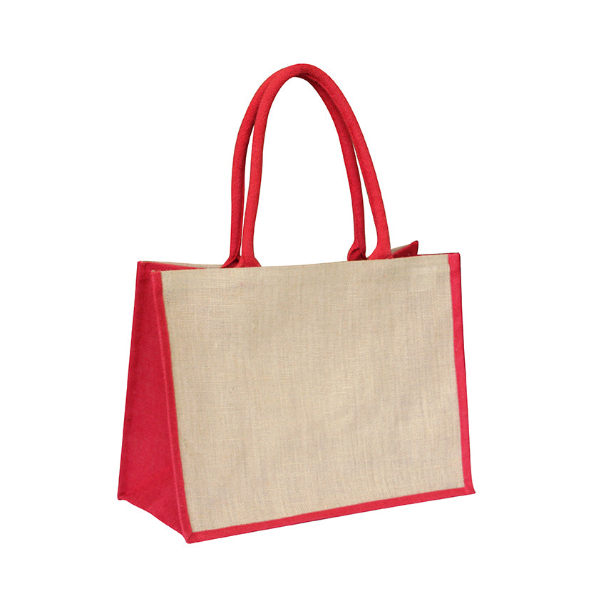 EJ-202 Jute Reusable Shopping Bag - Natural with Red Gusset