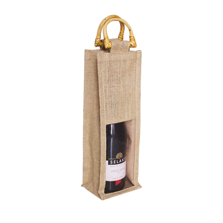 EJ-204 Natural Jute Wine Gift Bag with Bamboo Handles