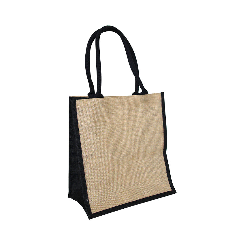 EJ-209 Jute Reusable Grocery Bag - Natural with Black Gusset