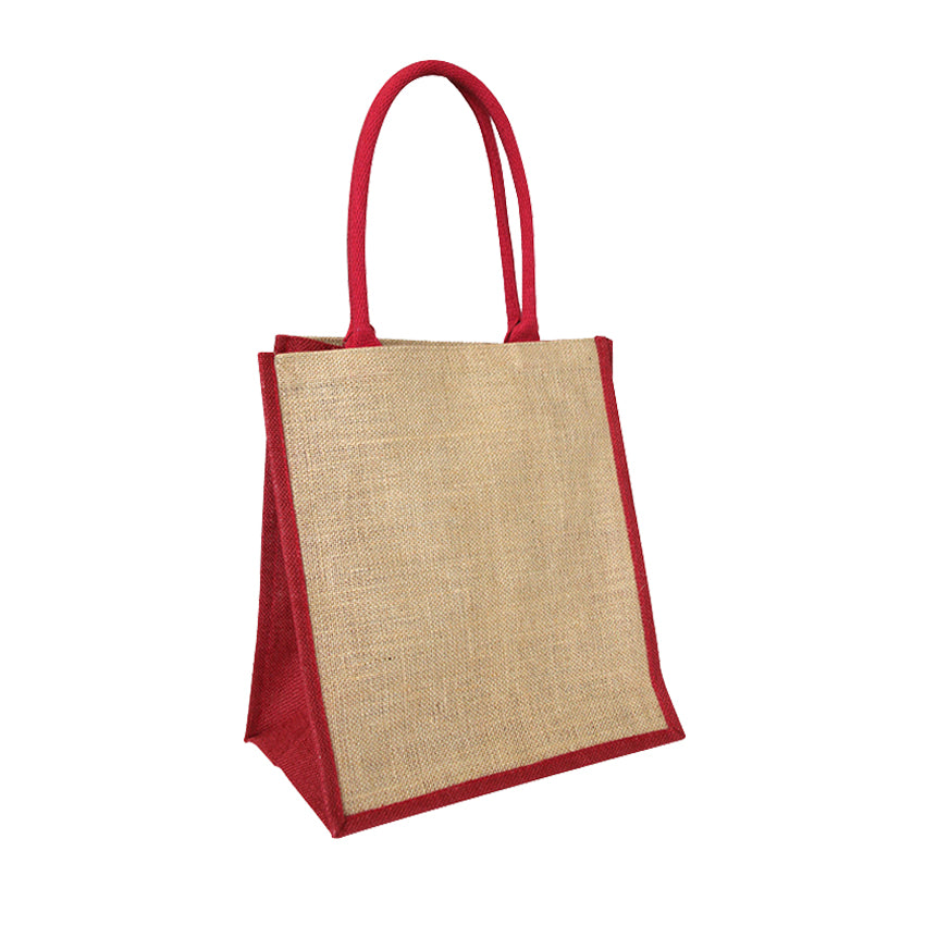EJ-209 Jute Reusable Grocery Bag - Natural with Red Gusset