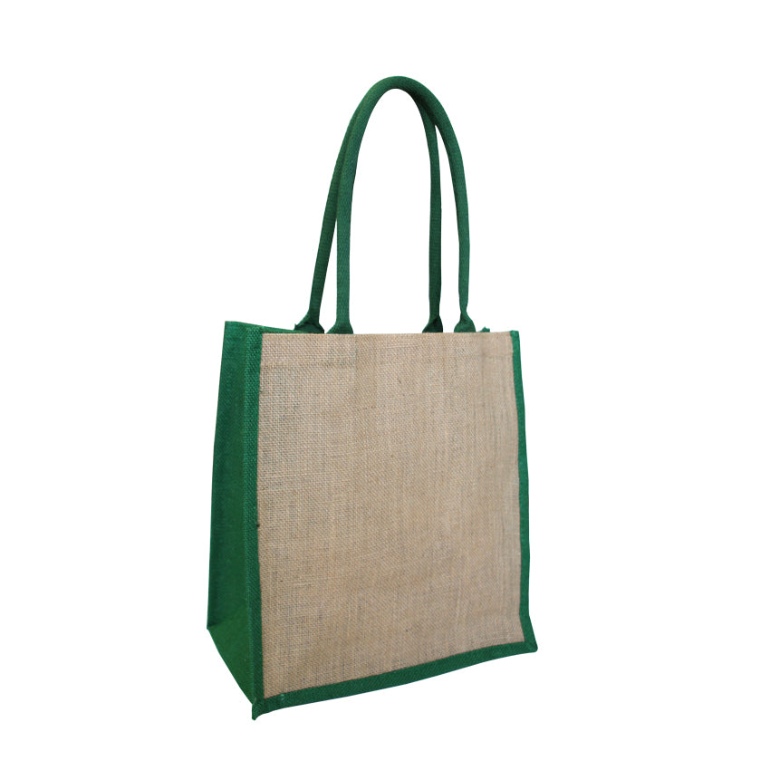 EJ-209 Jute Reusable Grocery Bag - Natural with Green Gusset