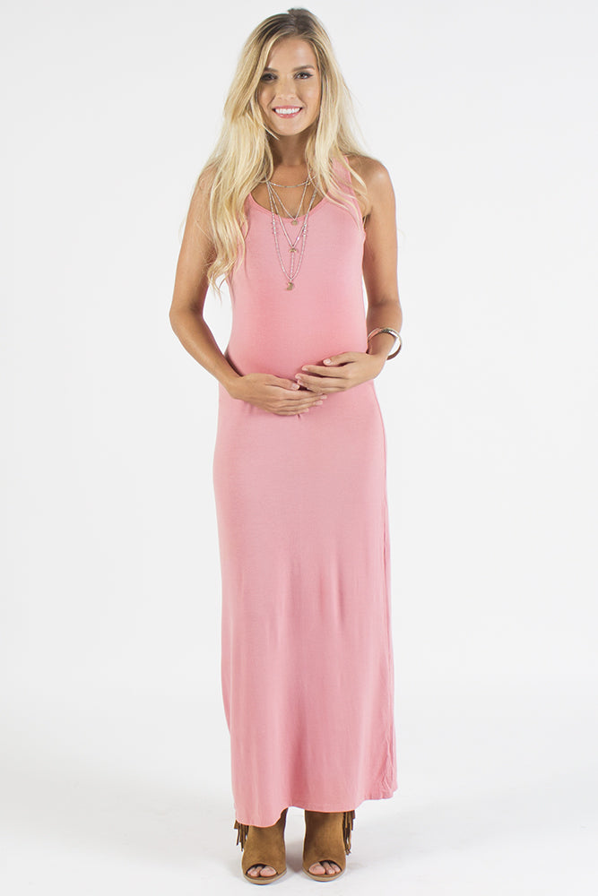 Amy Pink Racer Back Maternity Maxi Dress