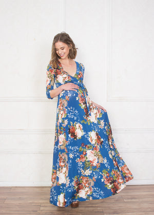 Blue Floral Maternity/Nursing Maxi Dress