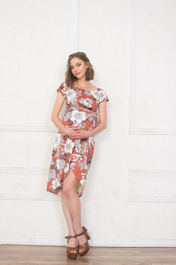 Riley Floral High-Low Maternity Dress