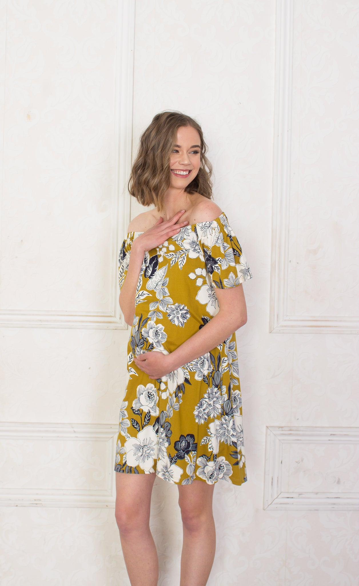 Mustard Floral Maternity Dress