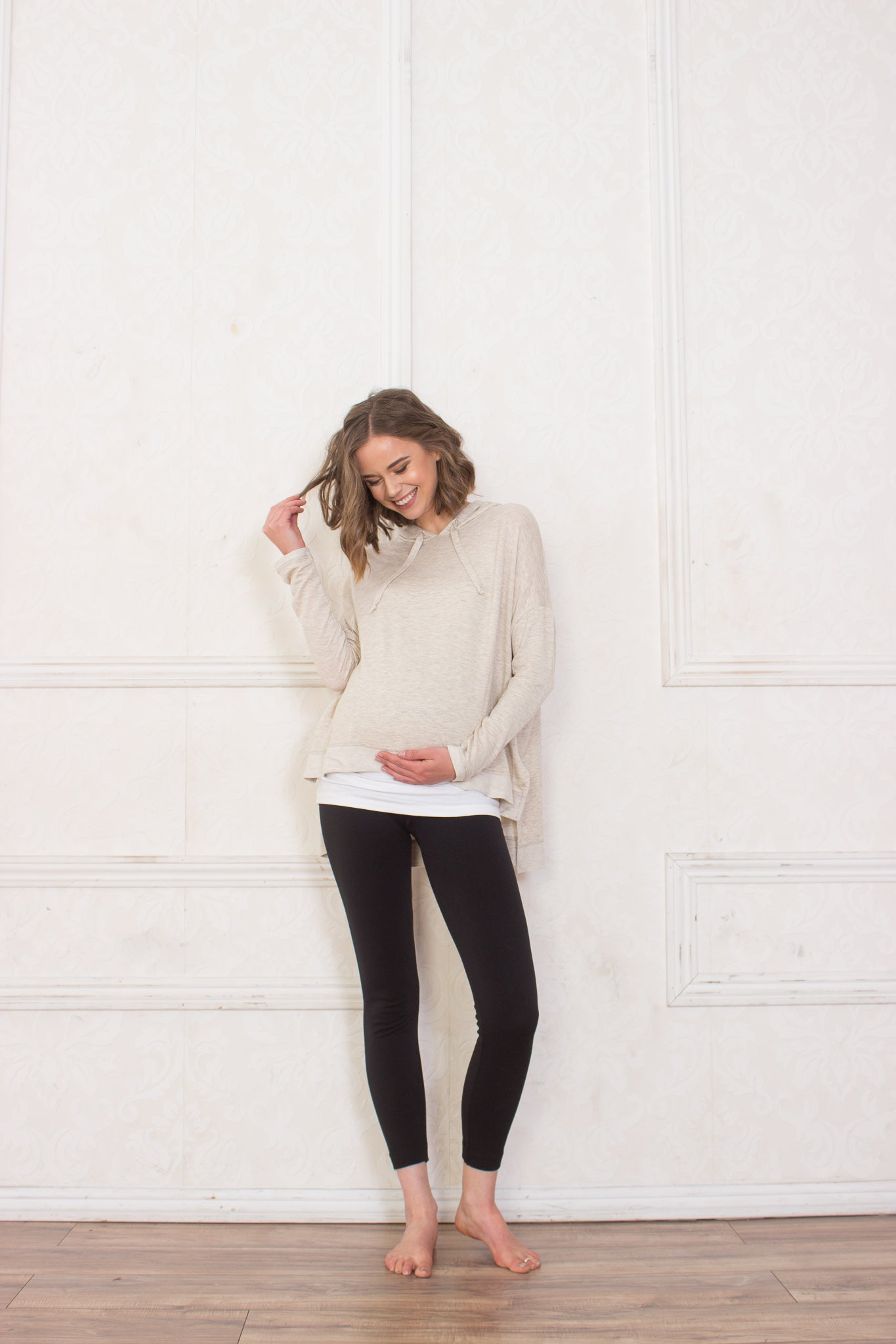 Caitlyn Cream Maternity Pull-Over Hoodie