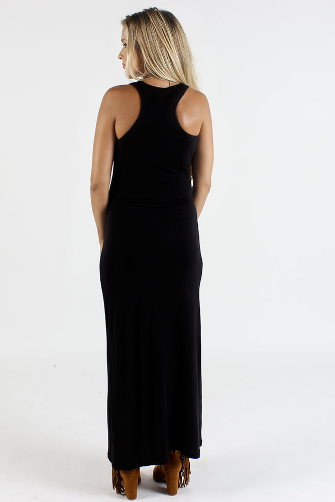 Amy Black Racer Back Maternity Maxi Dress
