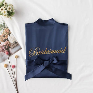 Embroidered Bridesmaid Kimono Gown