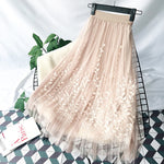 Floral Embroidery A-line Tutu Skirt