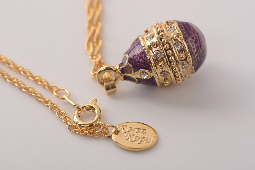 Purple & Gold Egg Pendant Necklace