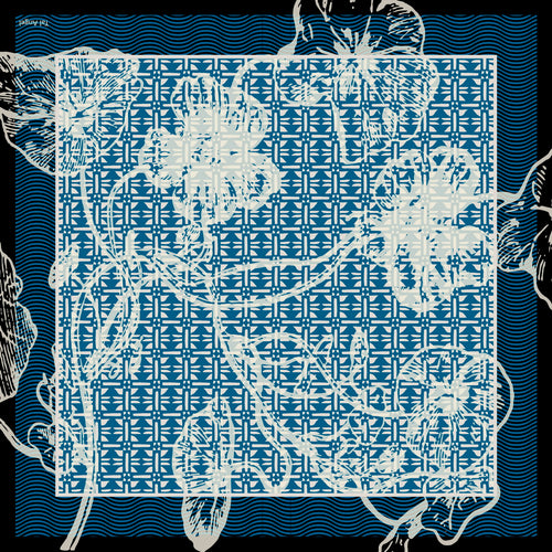 The Vienna Blue Flower Silk Scarf
