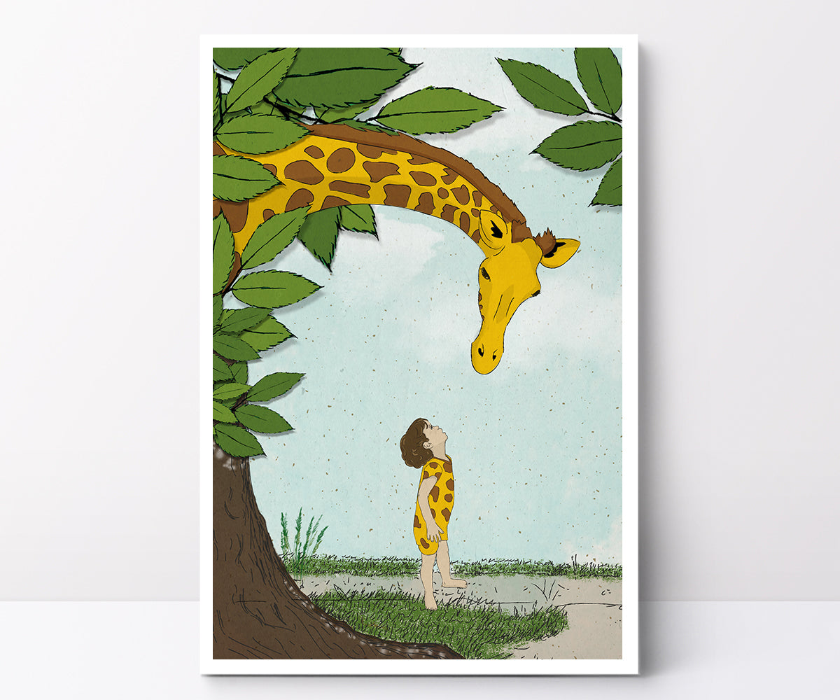 Illustrated poster giraffe
