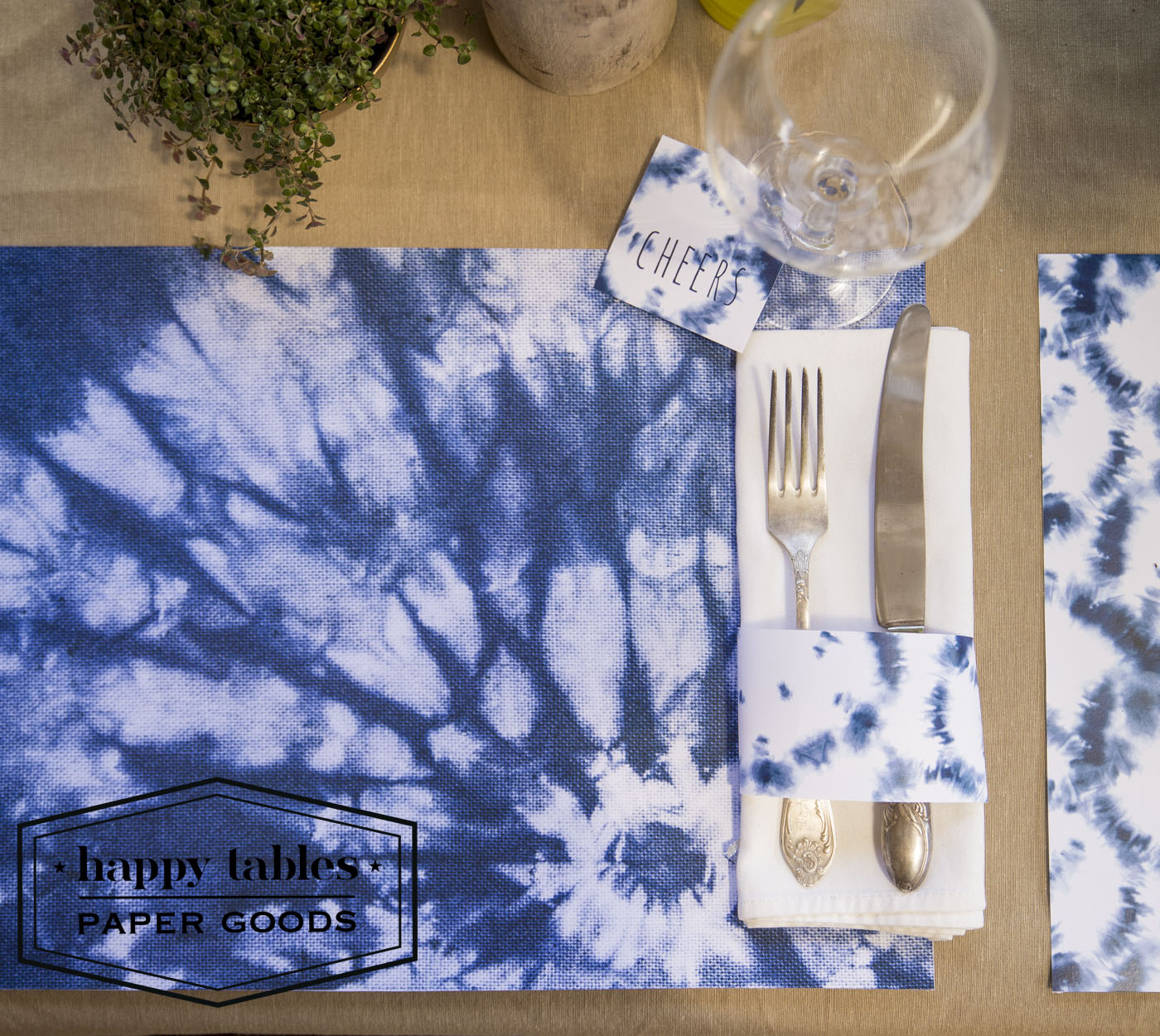 Paper Placemat Happy Tables Shibori Sun