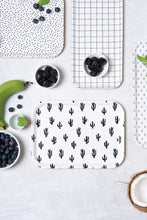 Birch Tray - Black and White Cactus Pattern
