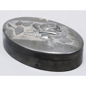 Antique European Pewter Oval Jewelry box, Made in France