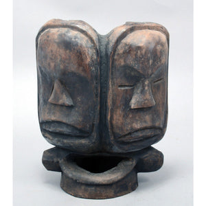 Antique Janus Face, an African Ceremonial Mask, Vintage African Art