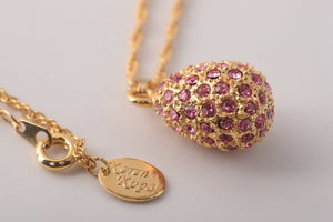 Golden Pink Egg Pendant Necklace