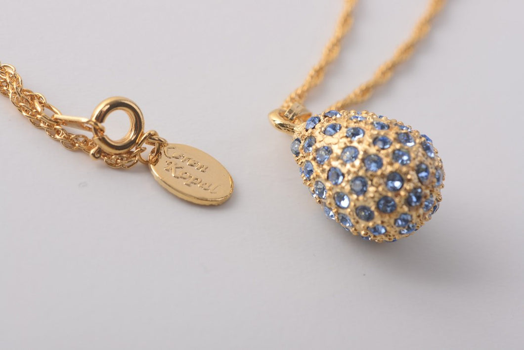 Golden Blue Egg Pendant Necklace