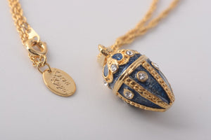 Blue & Gold Egg Pendant Necklace