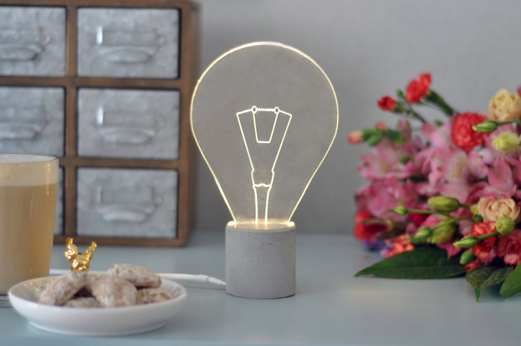Modern Exposed Concrete Bulb Lamp