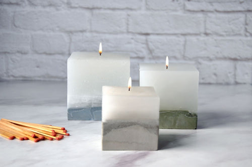 Scented Concrete Candle Cube Trio