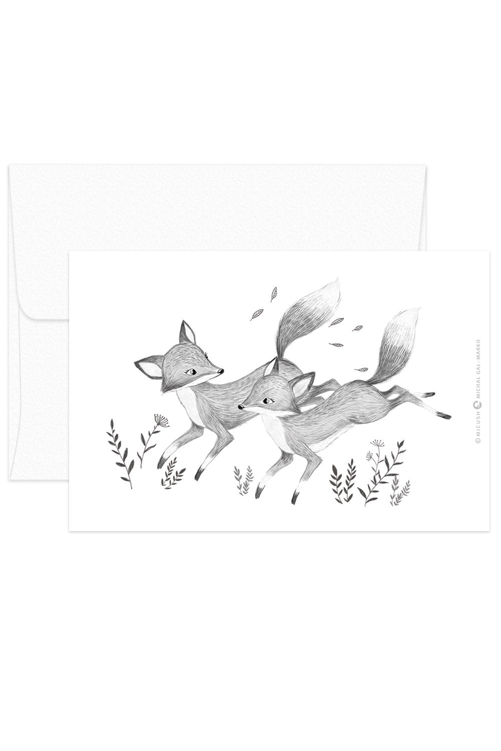 Card - Black & White Animals - Foxes
