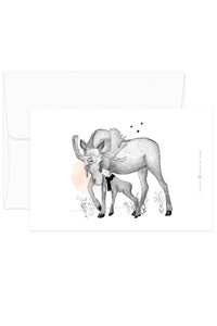 Card - Black & White Animals - Moose