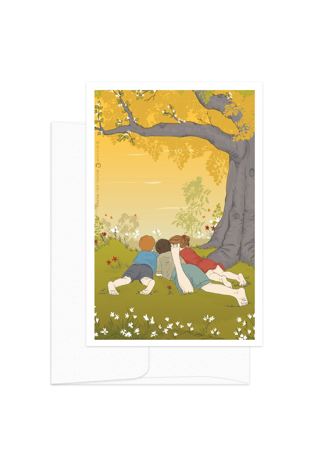 Card - Childhood Moments - Kids Playing on the Grass