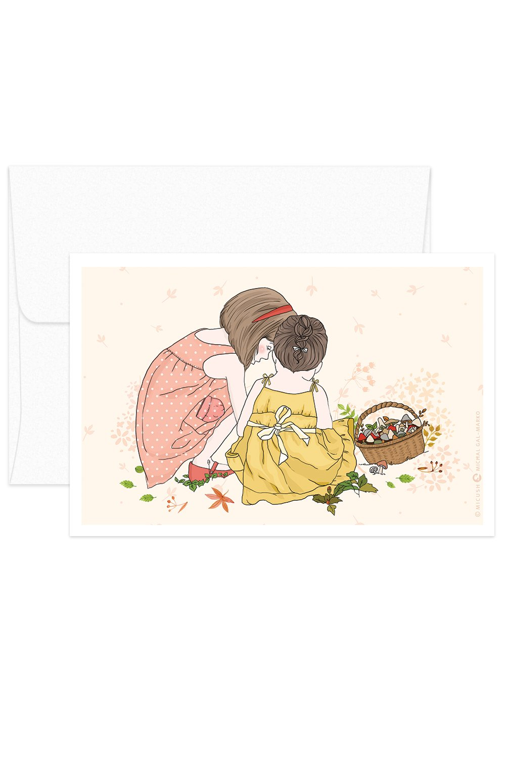 Card - Childhood Moments - Girls Picking Mushrooms